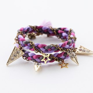 Purple Dark gray double layer wrap bracelet with light golden spiky charms