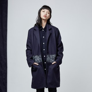 DYCTEAM - Wool Stitching Jacquard  Denim Coat 拼接羊毛大衣
