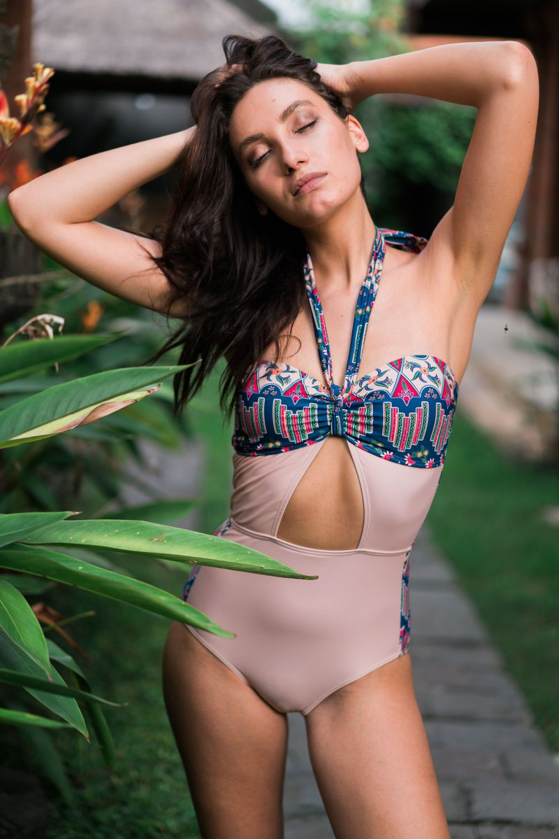 SIGNATURE BATIK Bayu Halter Cut-out Monokini in Mekar Nude