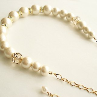 Cotton pearl and Rondelle Bead with Crystal Rhinestones necklace