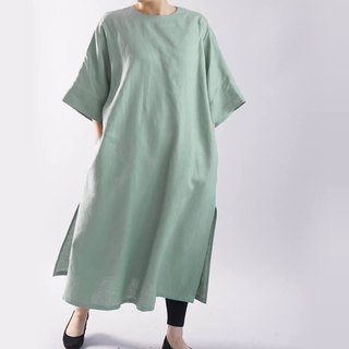 wafu   linen loose fitting dress / long length / half sleeve / emerald / t16-19