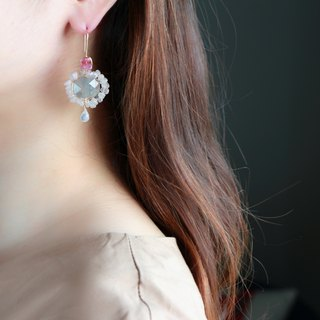 14 kgf - Pale color mandala pierced earrings
