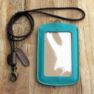 ID case/ Pass case/ Card case - ID 1 -- Turquoise + Dark Brown Lanyard