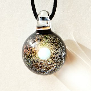 The world of gold glass and the universe. Dialogue glass pendant with white opal in space Universe 【free shipping】