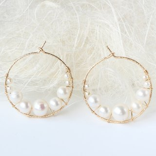 14kgf-Simple bubble freshwater pearl glitter hoop pierced earrings