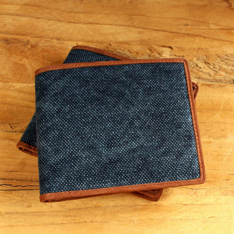 Leather Wallet - Bifold Canvas - Blue (Canvas & Cow Leather) / Small Wallet