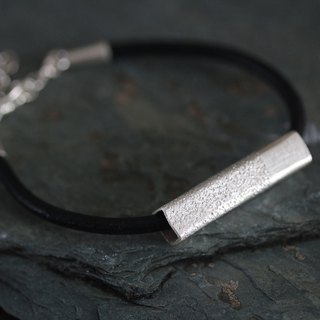 Leather bracelet with handmade silver square-profile tube bead with textured surface (B0067)