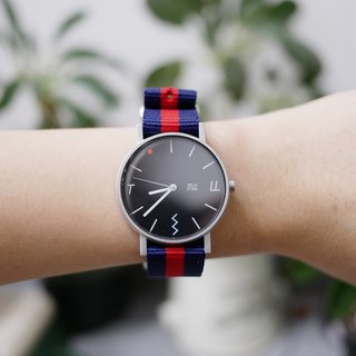 Till wrist watch with blue & red nylon strap