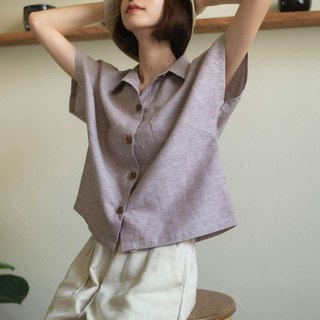 Linen Shirt with Wooden buttons (Short-sleeved)-Brown