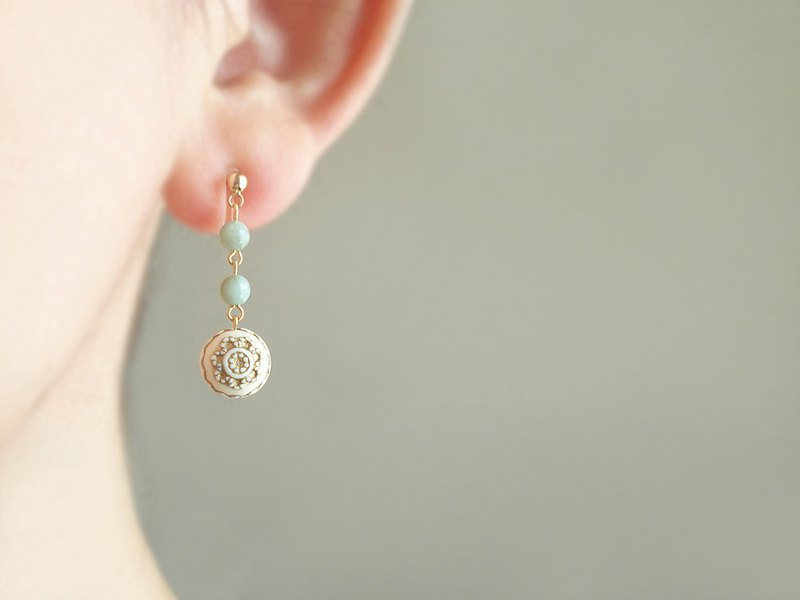 翡翠 Jadeite ,antique style clip on earrings 夾式