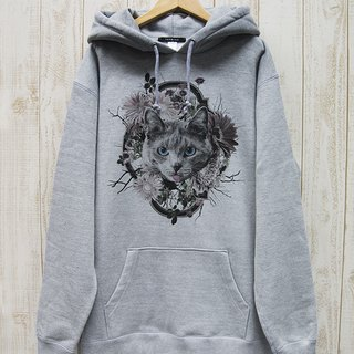 ronronCAT BIG HOODIE Flower Frame (Heather Gray) / RBP 002 - GR