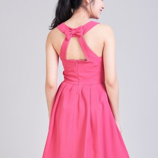 Pink Backless Dress Tea Party Dress Vintage Style Prom Dress Bridesmaid Dress