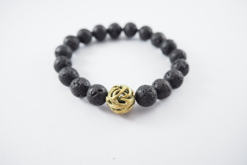 Horn bead 10 mm.Lava stone bracelet in brass ,men jewelry