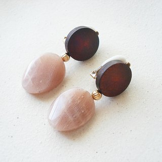 Orange moonstone and wood beads, clip on earrings 夾式