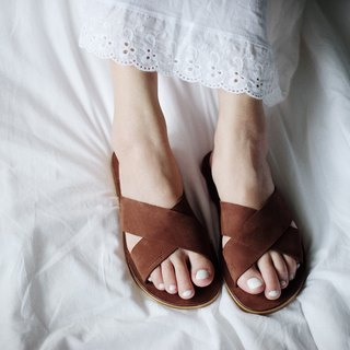 Nubuck leather Cross Sandal Chocolate / AB001