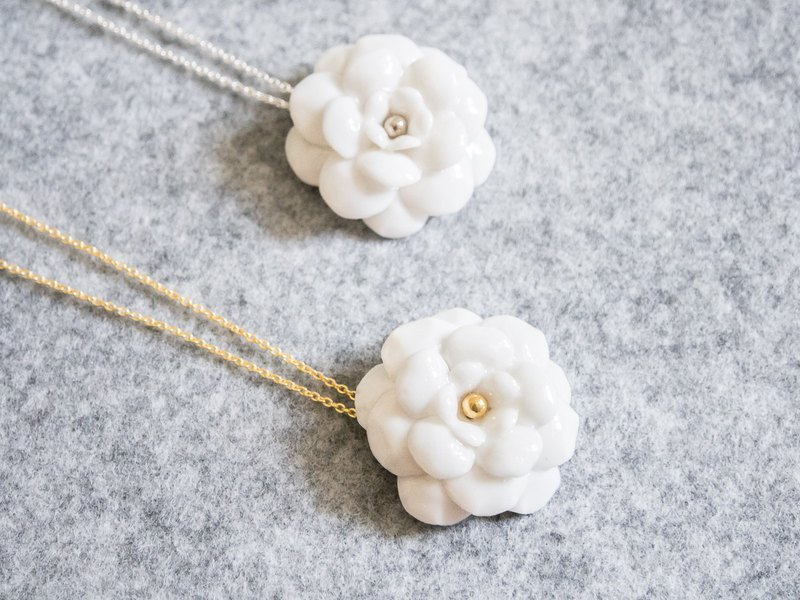 Camellia necklace - white porcelain - sterling silver (925)