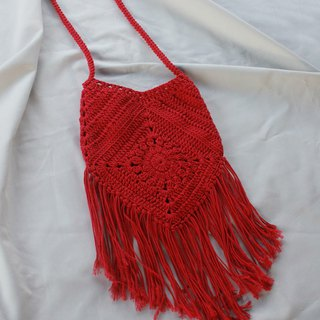 Crossbody bag ,Red Crochet bag ,Crochet bag Boho Bag ,Shoulder Bag