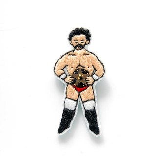Champion wrestler embroidery brooch