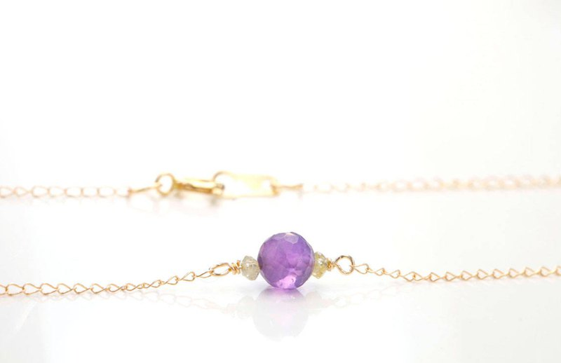 Amethyst and Dainty Yellow Diamond Necklace 14k Solid Gold February birthstone