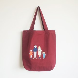 cat family tote bag : red