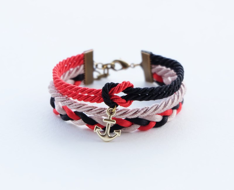 Nautical wrap bracelet in with anchor in red /  lack / light brown