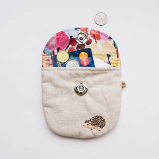 刺猬 Hedgehog Embroidered Liberty Print Wee Pouch