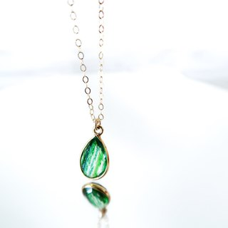 14KGF / GREEN COPPER CRYSTAL NECKLACE