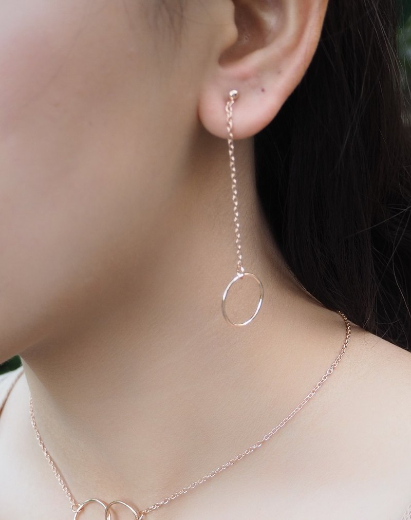 Rose gold plated Sterling silver circle dangle earring