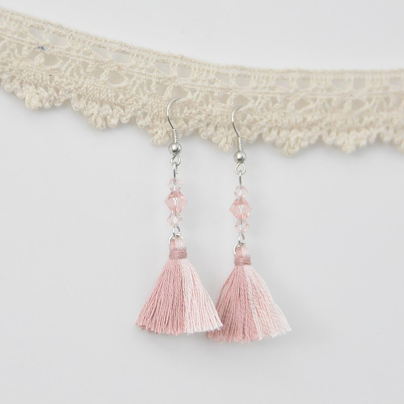 双色流苏。捷克水晶。耳环 Two Colorway Tassel。Crystal。Earring