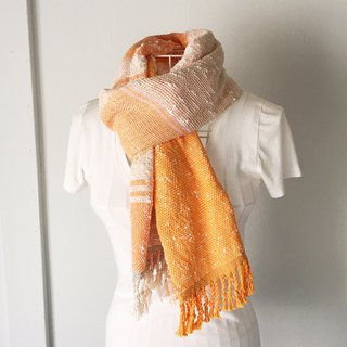 "Hand-woven stole ""Orange & White Mix"""