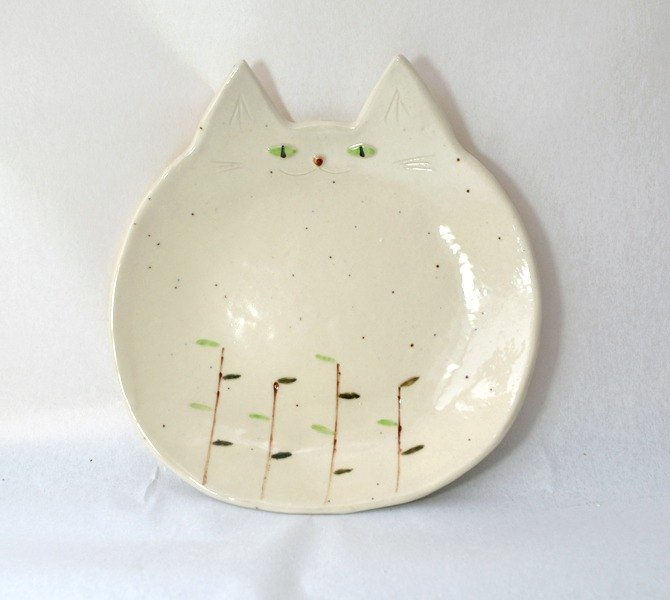 """Plant from grassy ... cat"" large dish 【large plate】"