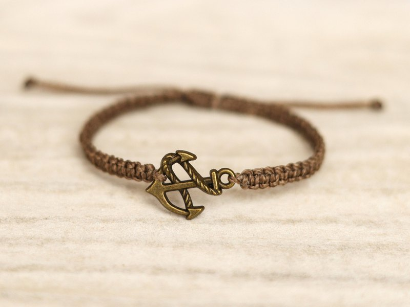 Anchor brown woven bracelet
