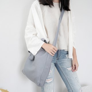 Casual 2 Ways Linen Tote Bag (Grey-Blue)