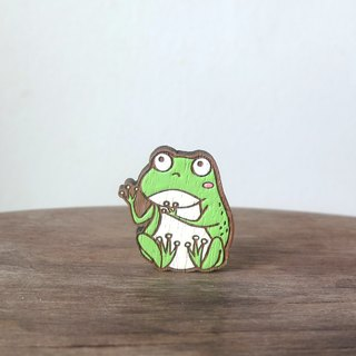 Wooden Brooch Frog