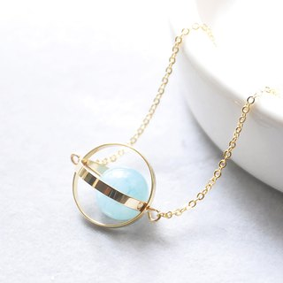 海洋星球。宇宙。金环。海蓝宝。项链 Ocean Blue Planet。Galaxy。Golden Ring。Aquamarine。Necklace。生日礼物。闺蜜礼物。姐妹礼物