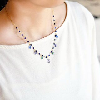 Good luck Success Force UP 4 types blue stone gathering necklace December birthstone