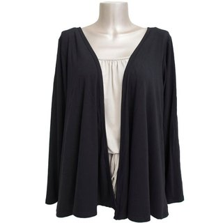 Viscose stretch topper cardigan <Black>