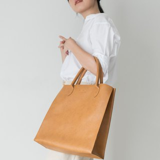 Jumbo Leather Tote Bag (Tan)
