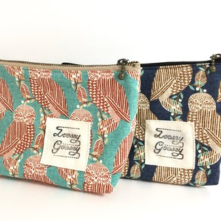 Owl handle pouch cotton turquoise