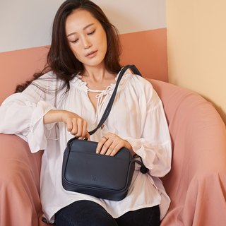 Lili Leather Crossbody Bag in Midnight Blue Color