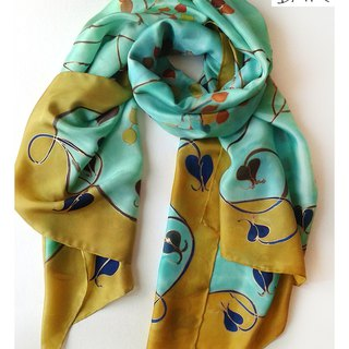 Hand painted silk shawl in Art Deco style in Aqua green and Tobacco