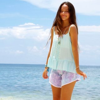Summer of refreshing pants! Uneven dyed shorts <lavender mint>