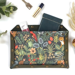 墨绿色皮革拼花布手提包 自由组合 Button clutch bag