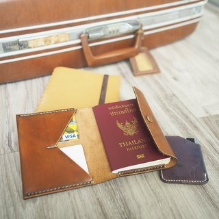 Hand stitched Leather Passport case with brass snap button