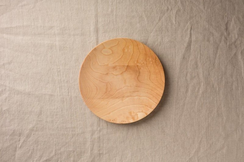 Wood 18cm of the potter's wheel ground wooden plate chestnut (land) 08