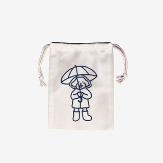 rainy day silk screen drawstring pouch