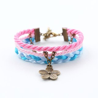 Flower layered rope bracelet in Candy pink / blush pink / sky blue / candy blue