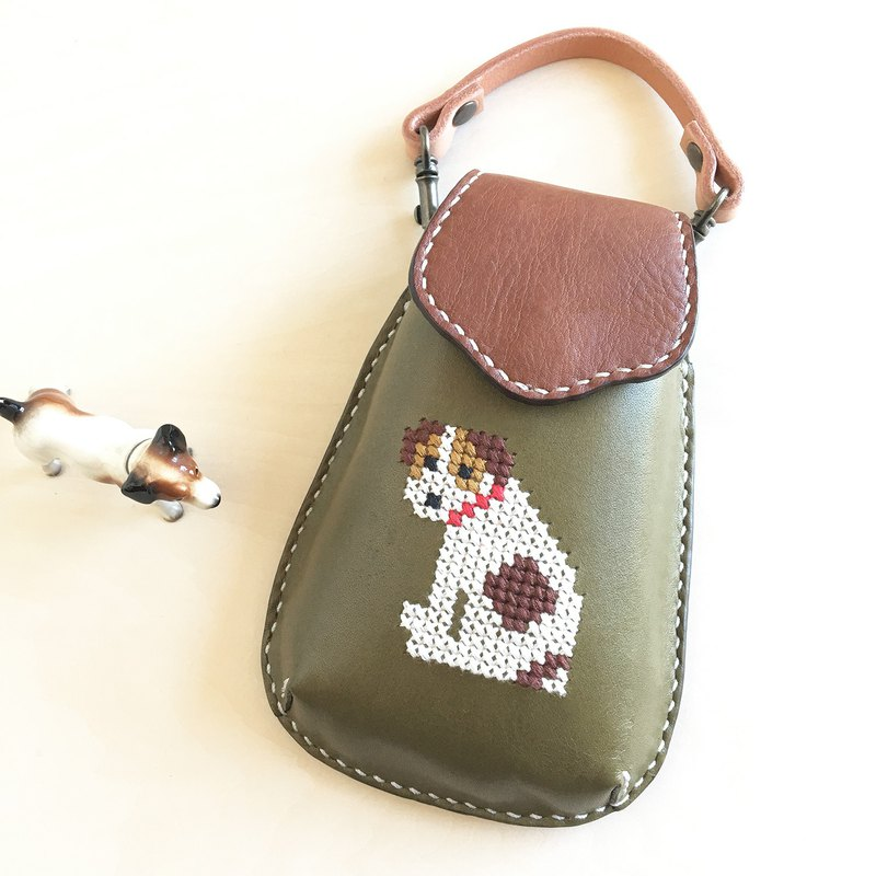 Cross stitch mobile case with a JRT   green
