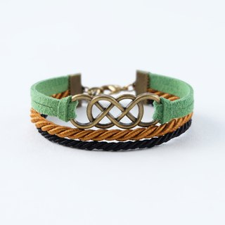 Brass double-infinity in Leaf green / Cinnamon brown / Black