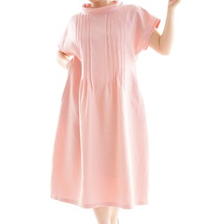 Linen / linen dress / midi dress / pin tuck / loose fitted dress / pink / a81-18
